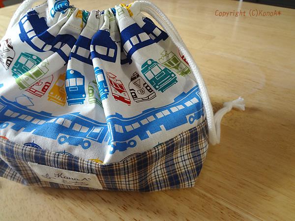 電車大集合ブルー:弁当袋