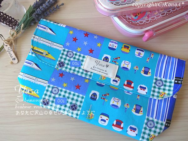新幹線パッチ柄水色:封筒型弁当袋